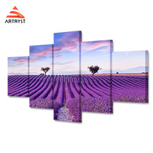 5pcs Modern Home Decor Purple Lavender Field Landscape Poster HD Printing On The Canvas Wall Art The picture for the living room facing the modern