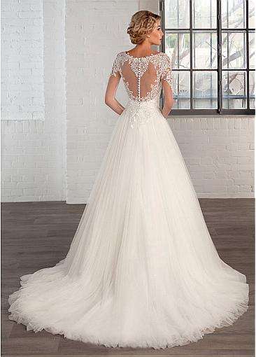 Image 4 - Elegant Tulle Bateau Neckline A line Wedding Dresses with Lace Appliques Long Sleeve Bridal Gowns Robe De Mariage-in Wedding Dresses from Weddings & Events