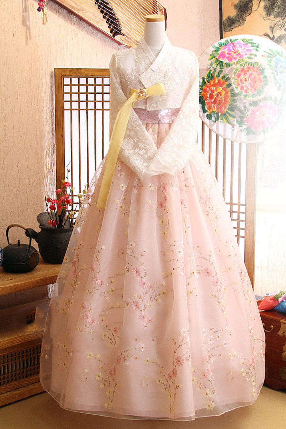2019 Popular Women Hanbok Dress Korean Traditioanl Bride Wedding Fushion Lace Skirt Gfit
