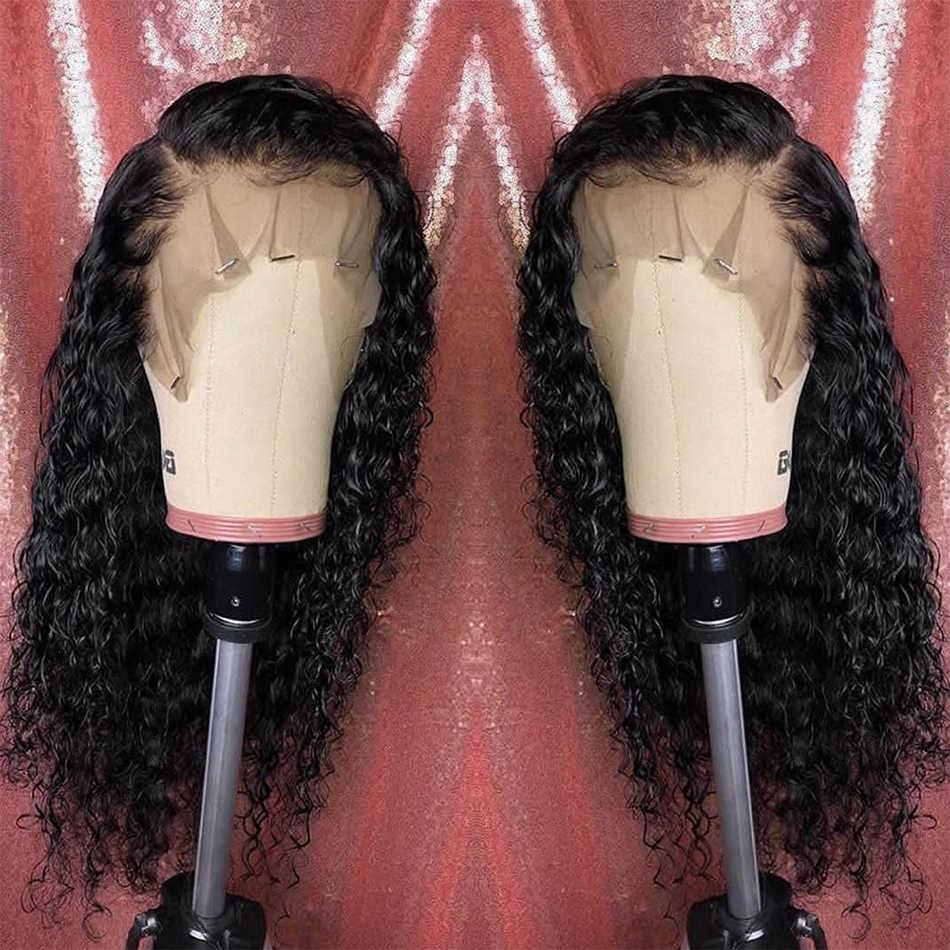 بوكر الوجه 360 الدانتيل الباروكة الأمامية البرازيلي موجة عميقة خصلات الشعر المستعار الإنسان 180% الكثافة قبل نتف بشعر الطفل
