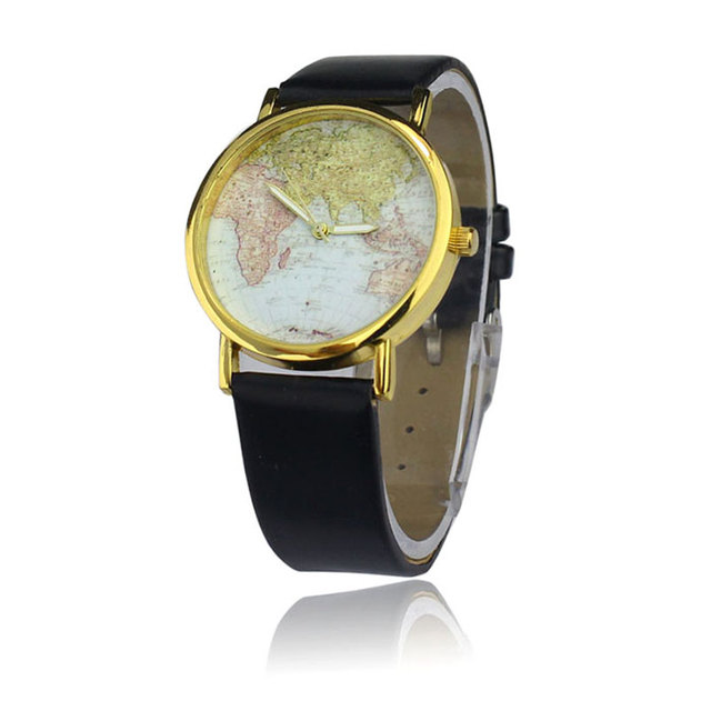 Quartz watch world travel map watches - retro wrist watch different styles and colours 5