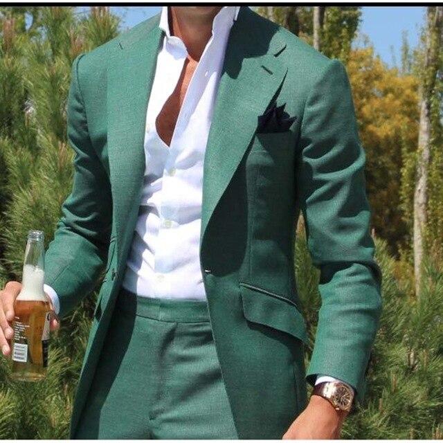 Tailleur vert hommes costume Slim Fit marié robe de bal Blazer 2 pièce smoking décontracté plage été Style mâle manteau veste + pantalon Terno