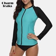 Charmleaks Women Long Sleeve Zipper Rashguard Swimsuit Running Shirt Hiking Shirts Surfing Top Rash Guard UPF50+ Swimwear