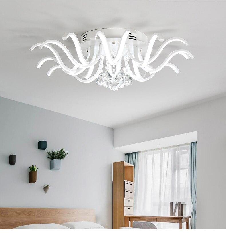 White Ceiling Chandelier Lighting LED lamp for Living Dining Room Crystal Chandelier Lighting Fixtures Lustre Home Ceiling Lamp