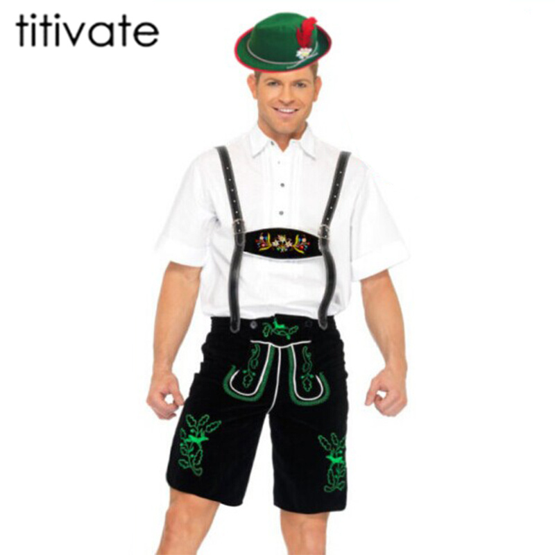 TITIVATE Plus Size Men Oktoberfest Costumes Bavarian Beer Cosplay Halloween German Party Clothes Octoberfest Festival Costumes