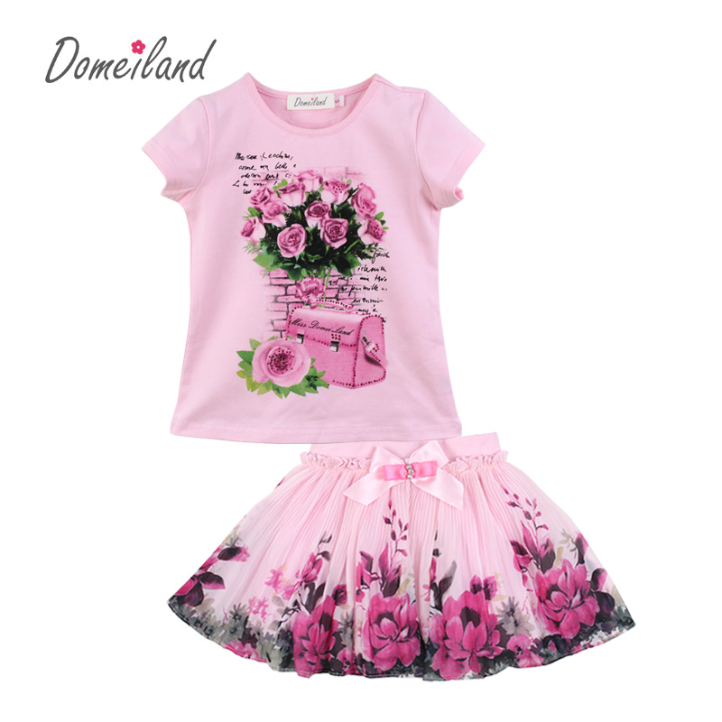 2017 fashion summer domeiland children clothing sets kids girl outfits print floral short sleeve cotton tops skirt suits clothes 2017 fashion brand domeiland summer children clothing for kids girl short sleeve print floral cotton tee shirts tops clothes