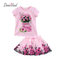 2016 Fashion Summer Children Clothing Sets Kids Girl Boutique Outfits Print Floral Short Sleeve Cotton Tops