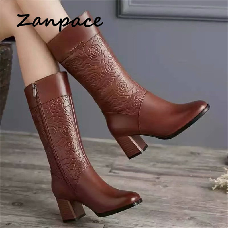 ZANPACE Leather Boots Plus Velvet Shoes Women Winter Boots Ladies Martin Boots Casual Style Shoes For Girl High Heeled Boot