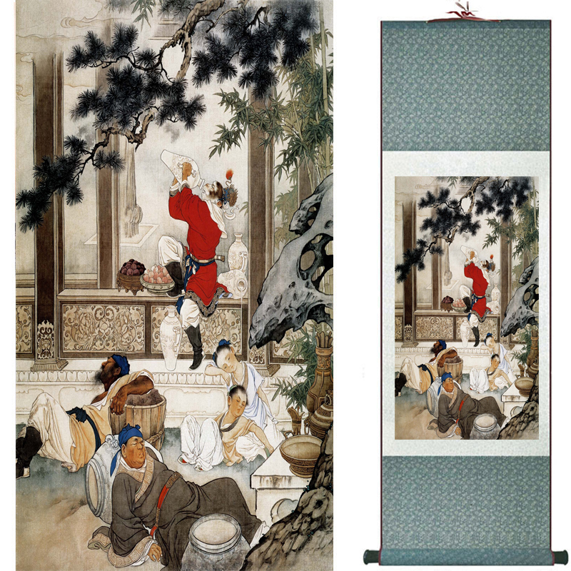 The monkey king caused havoc in heaven art painting silk scroll painting Monkey King Wreaks Havoc in Heaven painting 2018082444(China)