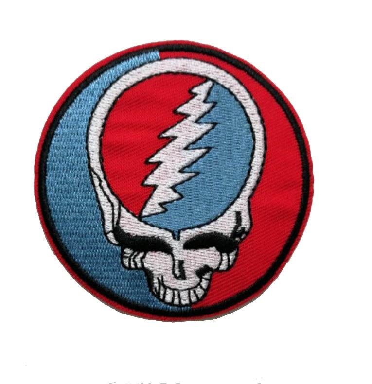 고마운 죽은 로고 아이언 패치 자수 음악 밴드 패치 바이커 자켓 applique 락 펑크 배지 도매-에서패치부터 홈 & 가든 의  그룹 1