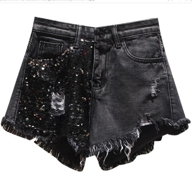 plus size 5XL Summer New Arrival Women High Waist Solid Color Denim Hole Sequined Spliced Casual loose Shorts Jeans 1