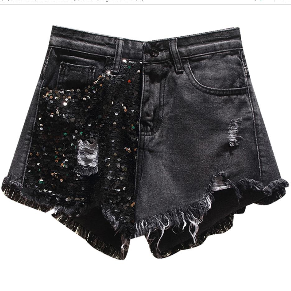 plus size 5XL Summer New Arrival Women High Waist Solid Color Denim Hole Sequined Spliced Casual loose   Shorts   Jeans