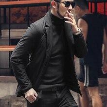 Suit Blazer Black Design Men's Causal Winter Single-Breasted European-Style Warm WF907