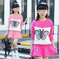 Kids Girls cotton suit 2017 spring new girls cartoon butterfly t-shirt+skirt two pcs sets children suit dress