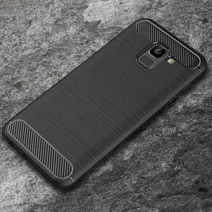 For Samsung Galaxy A6 2018 Case Silicon Heavy Shockproof Carbon Fiber Soft Silicone