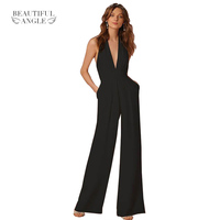 2017 Woman Sexy Jumpsuits Backless Elegant Female Sleeveless Hanging Neck Piece Pants Women S Jumpsuits Solid