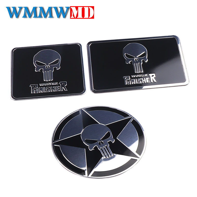 Car Styling The Punisher Sticker 3D Metal Creative Aluminium Skull Emblem Badge Window Tail Decal Decoration Auto Accessories