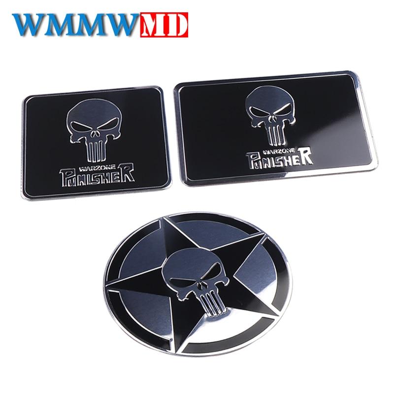 Chrome Jeep Punisher Car Body Emblem Metal Alloy Badge Sticker