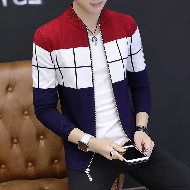 Autumn Of 2019 Men's New Zipper Cardigan Sweater Joker Color Matching Cultivate One's Morality Sweater