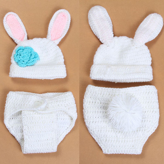 Crochet Baby Bunny Rabbit Hat And Diaper Cover Set Newborn Easter Or