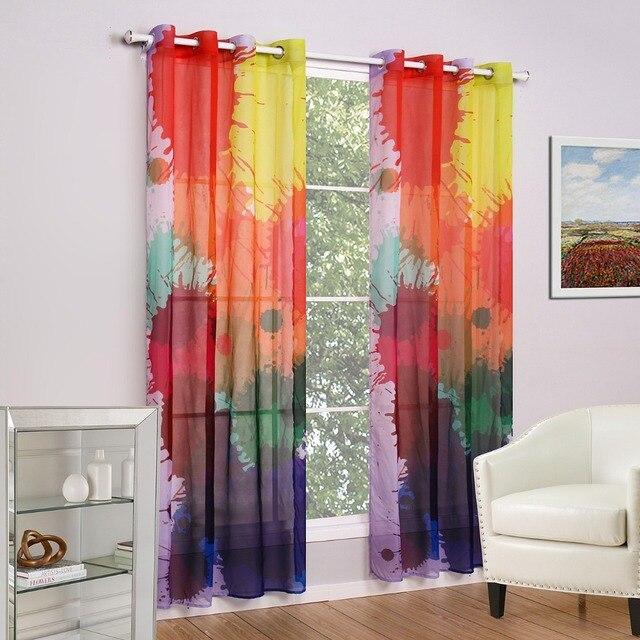 Graffiti Designer Curtain Tulle Window Sheer Curtains For Living