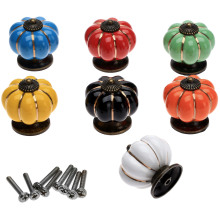 1Pc Vintage Pumpkin Ceramic Cabinet Knobs and Handles Furniture Colorful Door Knob Drawer Cupboard Kitchen Pull Handle