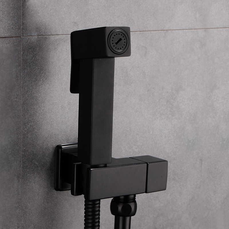 Bidet Armaturen Wand Messing Schwarz Kaltes Wasser Toilette Ecke Ventil Handheld Hygienische Dusche Kopf Waschen Auto Pet Sprayer Airbrush Wasserhähne
