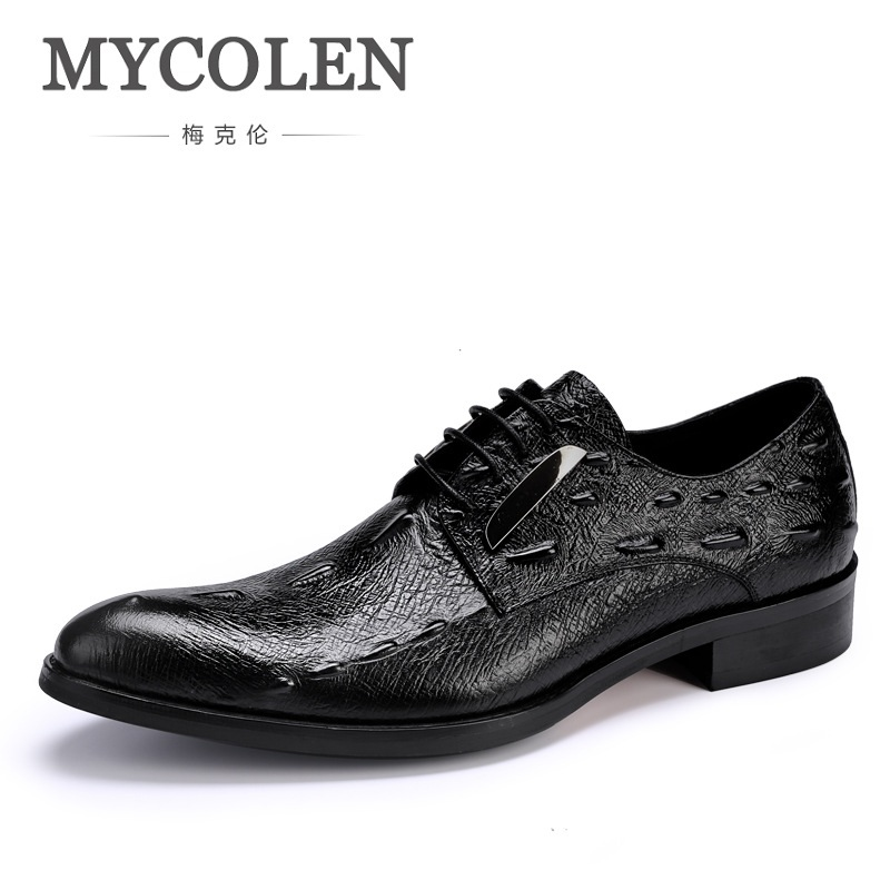 MYCOLEN New Business Dress Men Formal Shoes Wedding Crocodile Pattern Pointed Toe Genuine Leather Flats Oxford Shoes For Men рубашки page 5