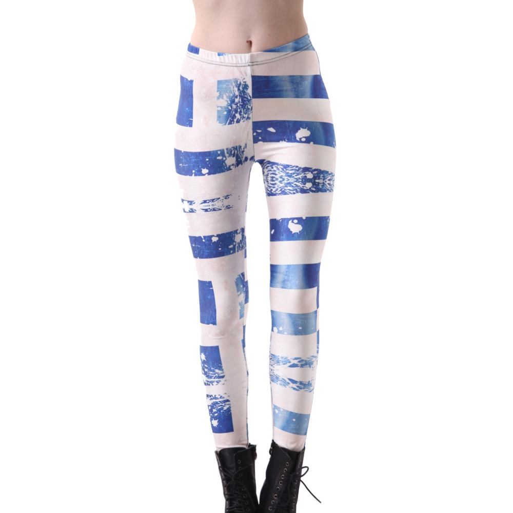 Elastic Casual Pants 3D Digital Printing The Greek Flag Pattern Women Leggings 7 Sizes Fitness Clothing Free Shipping