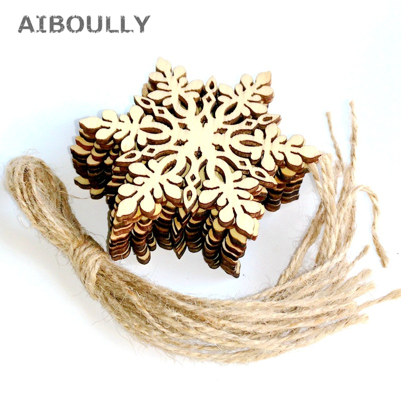 10pcs Nature Wood Sharp Hexagonal Wooden Snowflake Hanging Ornament Decoration Pendants with String