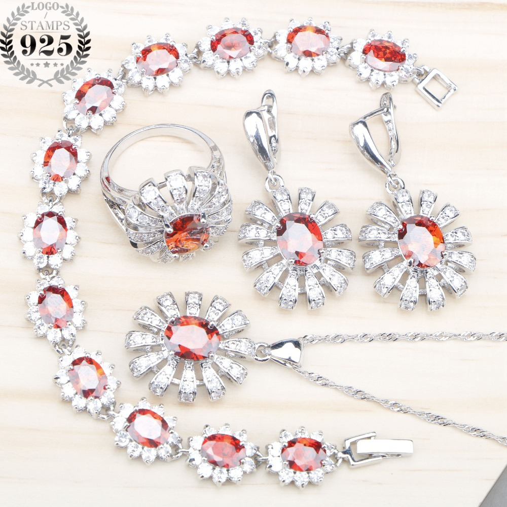 925 Silver Red Zircon Bridal Jewelry Sets Women Earrings Rings With Stones Pendant&Necklace Bracelets Set Jewelery Gift Box