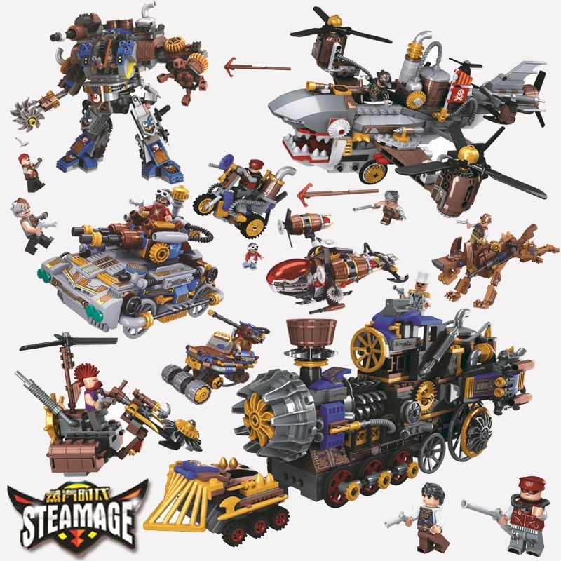 US $9 41 5% OFF|Steam Punk Style Series Building Blocks Train Motorcycle  Age Station Car Helicopter Mini Figures Blocks Toys For Children Gifts-in