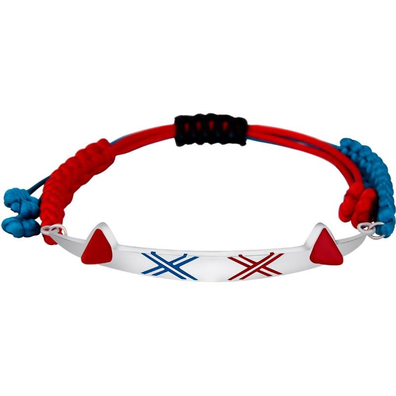 Fait à la main 925 argent Sterling chérie dans le Franxx 02 Bracelet Couples Bracelet 925 argent avec corde main chaîne Cosplay cadeau