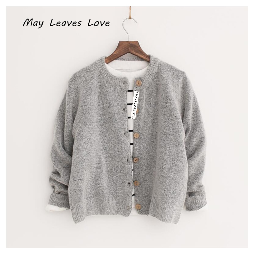 MAY LEAVES LOVE Spring Autumn Solid Single Breasted Short Design Women Sweaters