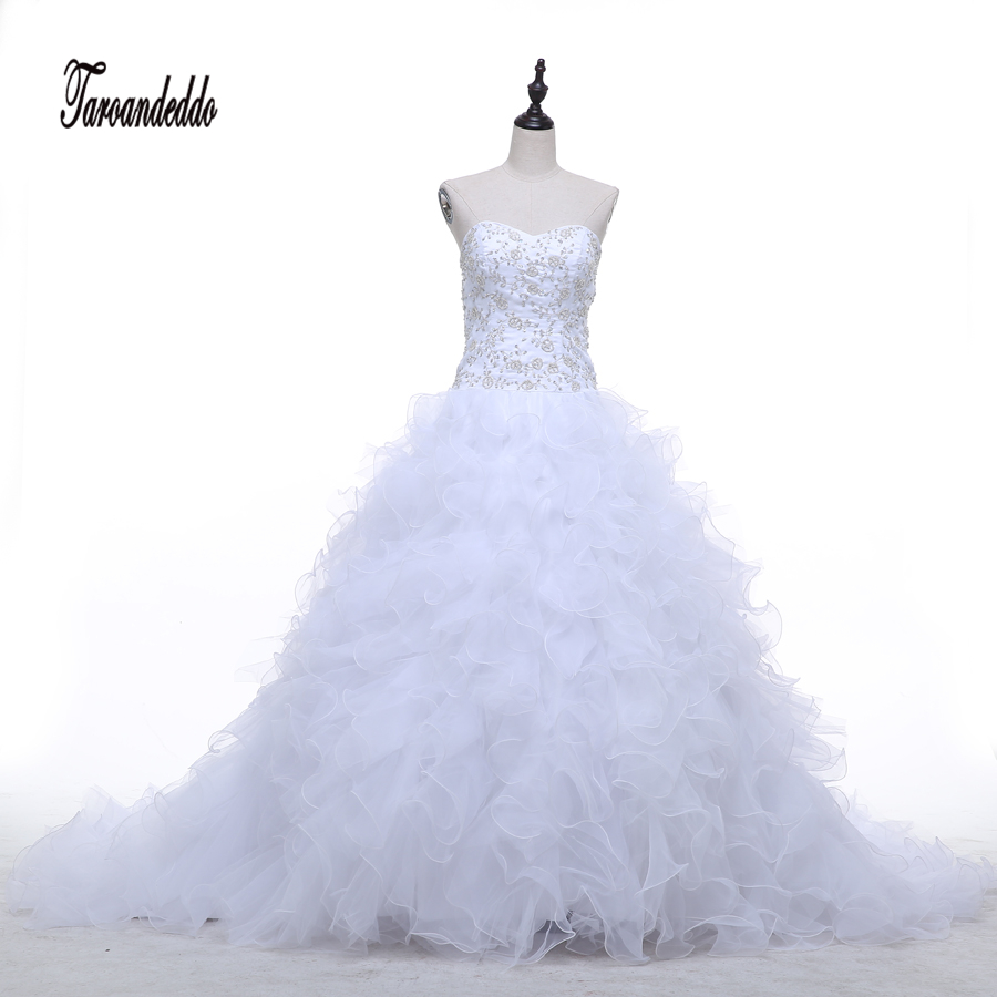 Strapless Embroider Bodice with Sequin Beading Ruffled Tulle Royal Train Ball Gowns Wedding Dress