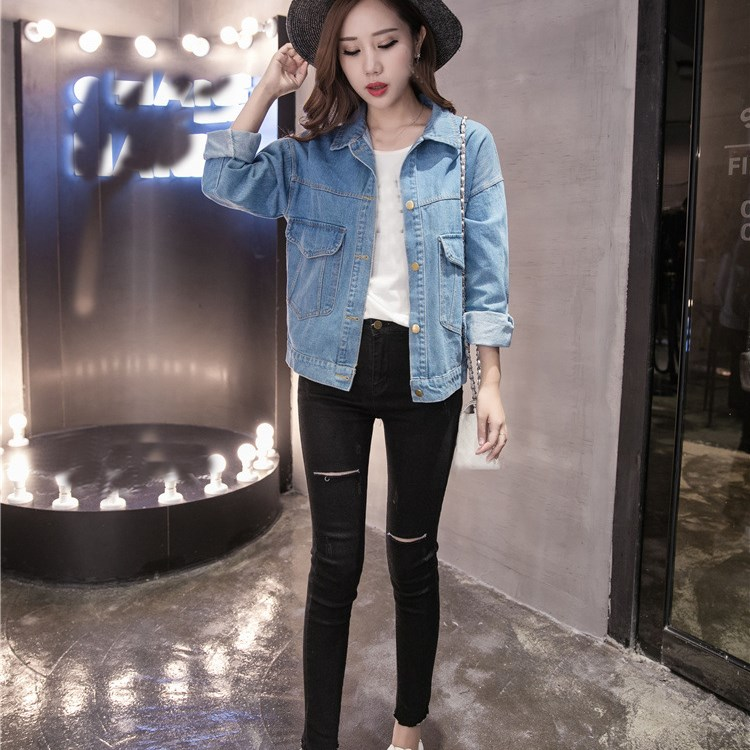 Autumn Women Vintage   Basic     Jacket   Long Sleeve Loose Jeans   Jacket   Coat Casual Girls Outwear Denim   Jacket