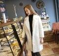 2016 Europa estação de inverno Turn-down Collar Emenda água Imitação mink cabelo na seção longo casaco Mais Grosso