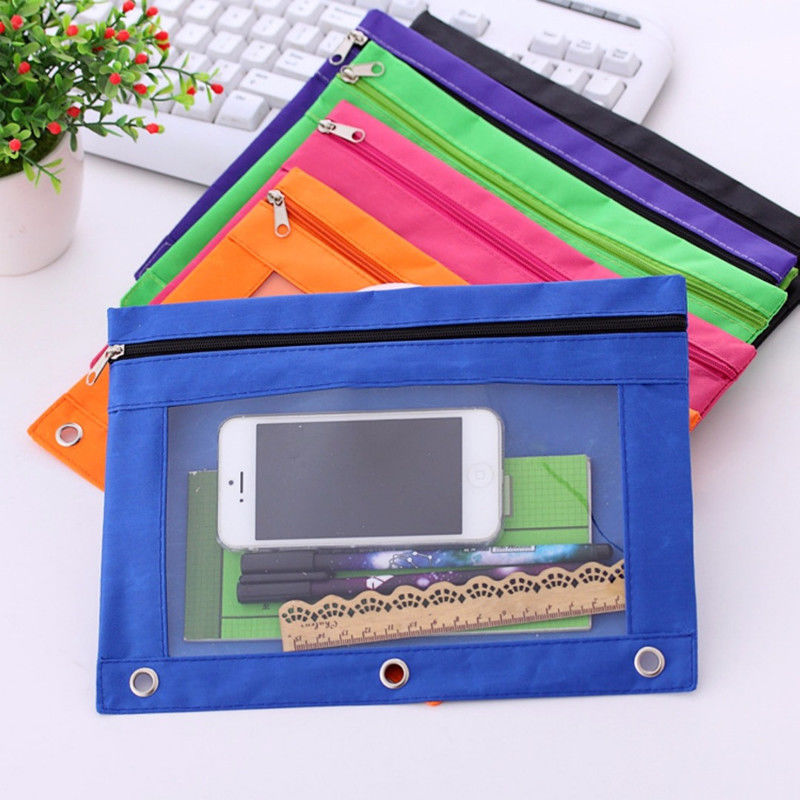 1Pc Zippered Binder Makeup Brush Pouch With Ring Rivet 3 Holes Home  Supplies File Holder Filing Products Briefcases