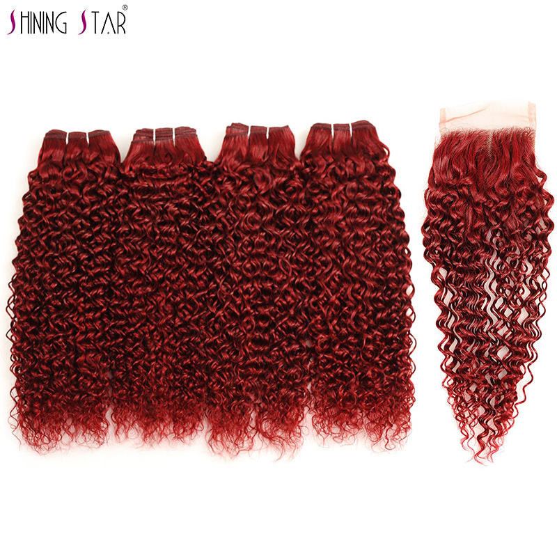 Shining Star Burgundy Red Bundles With Closure 100% Human Hair Colored 4 Malaysian Kinky Curly Bundles With Lace Closure Nonremy
