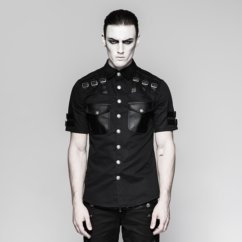 Steampunk hommes beau militaire uniforme à manches courtes chemise revers à manches courtes décontracté mince Rivet poche noir petit haut