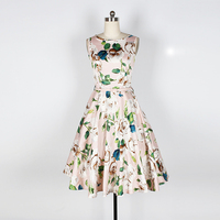 Audrey Hepburn Vintage Flower Belt Big Swing Classic Dress Robe Vestidos Women Casual Party Club Retro 50s Rockabilly Dresses