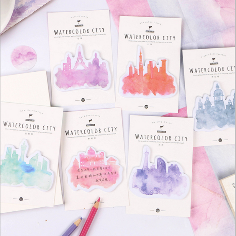1X New Kawaii Watercolor City Memo Stickers Notes Portable message stickers Pad Sticky Cute Post DIY Office School Stationery