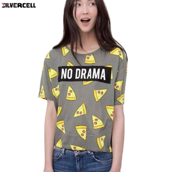 2017 Pizza Print T-shirt Women cute Cake NO DRAMA Letters tops short sleeve shirts casual camisas femininas gorras planas de fortnite