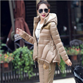 Manteau Femme 2016 New Winter Jacket women Suit Warm Slim Hooded Parka Coat+Pants 2 Piece Set Woman outwear parka W025