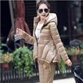 Manteau Femme 2016 New Winter Jacket women Suit Warm Slim Hooded Parka Coat+Pants 2 Piece Set Woman outwear parka W025