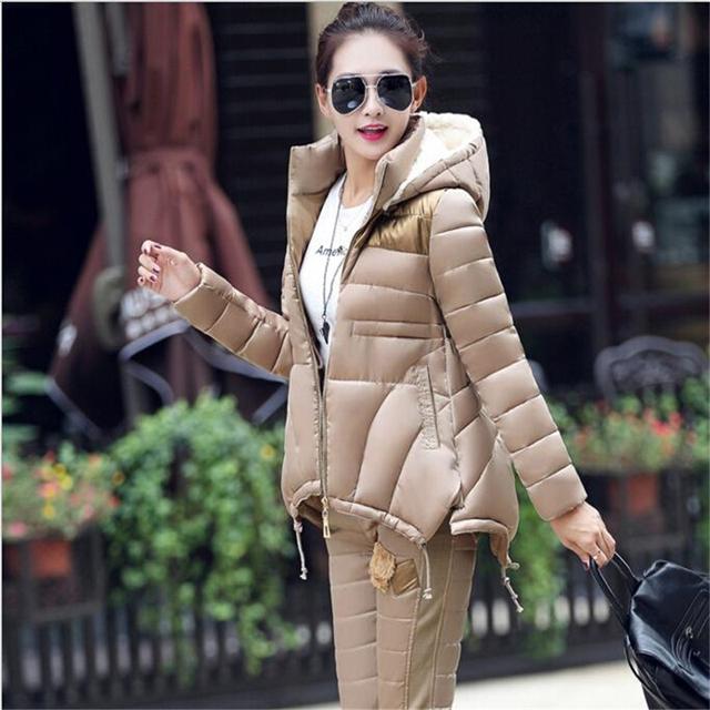 Manteau Femme 2016 Novas mulheres Jaqueta de Inverno Terno Quente Magro Parka Com Capuz Casaco + Calças 2 Peça Set Mulher outwear parka W025