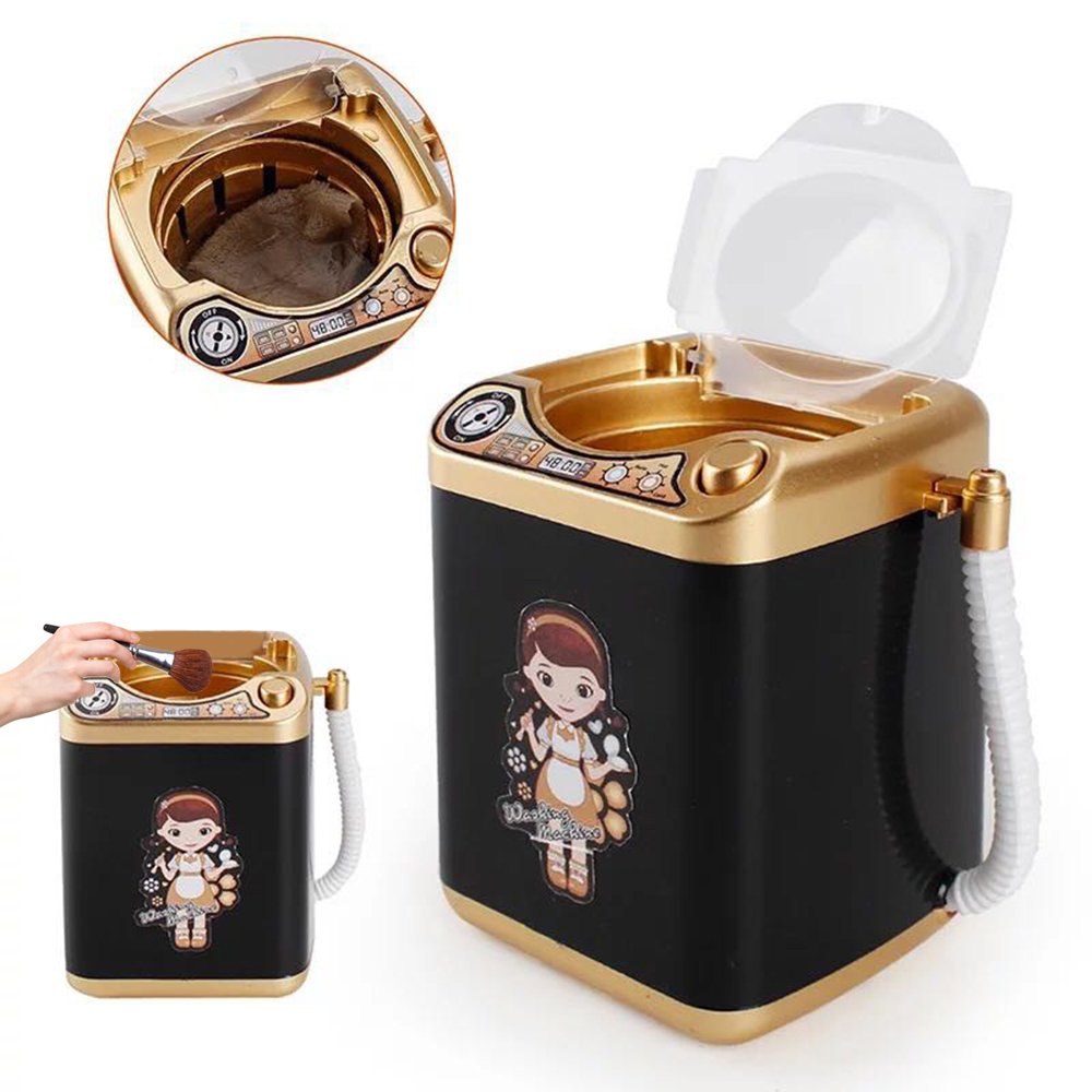 Mini Pretend Electric Cute Cosmetic Powder Puff Washing Machine Makeup Brushes Cleaner Laundry Baskets Computer Cleaners