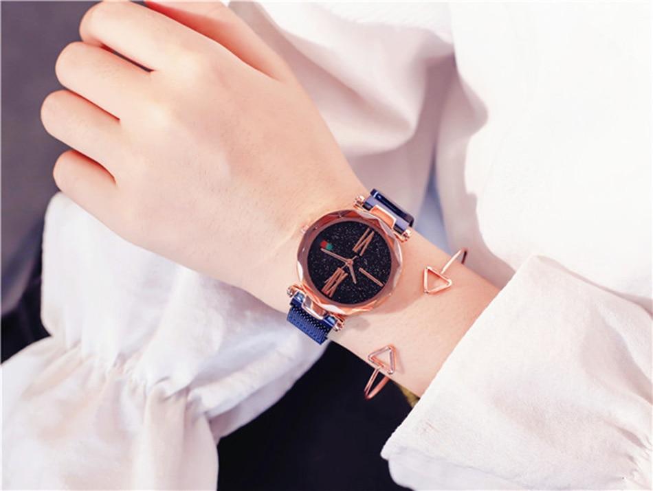 Starry Sky Designer Women's Watches Magnetic Stainless Steel Mesh Strap Ladies Wrist Watches New zegarek damski relogio feminino 10