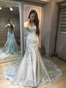 Image 3 - Vinca ensolarado modesto 2019 real foto cinza branco vestidos de casamento sereia querida corpete rendas acima volta nupcial vestido feito sob encomenda