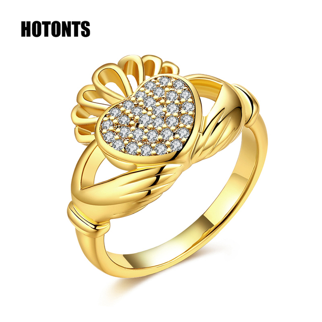 Us 3 99 R441 Men Women Gold Color Antique Irish Claddagh Engagement Ring Full Cubic Zirconia Love Hand Heart Crown Wedding Ring Jewelry In Wedding